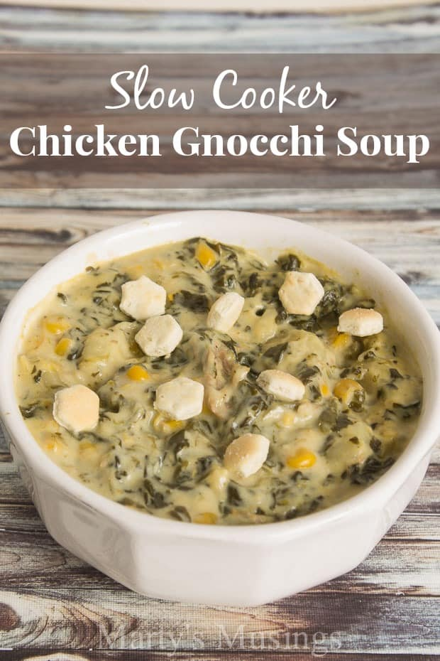 Slow Cooker Chicken Gnocchi Soup #KleenexTarget