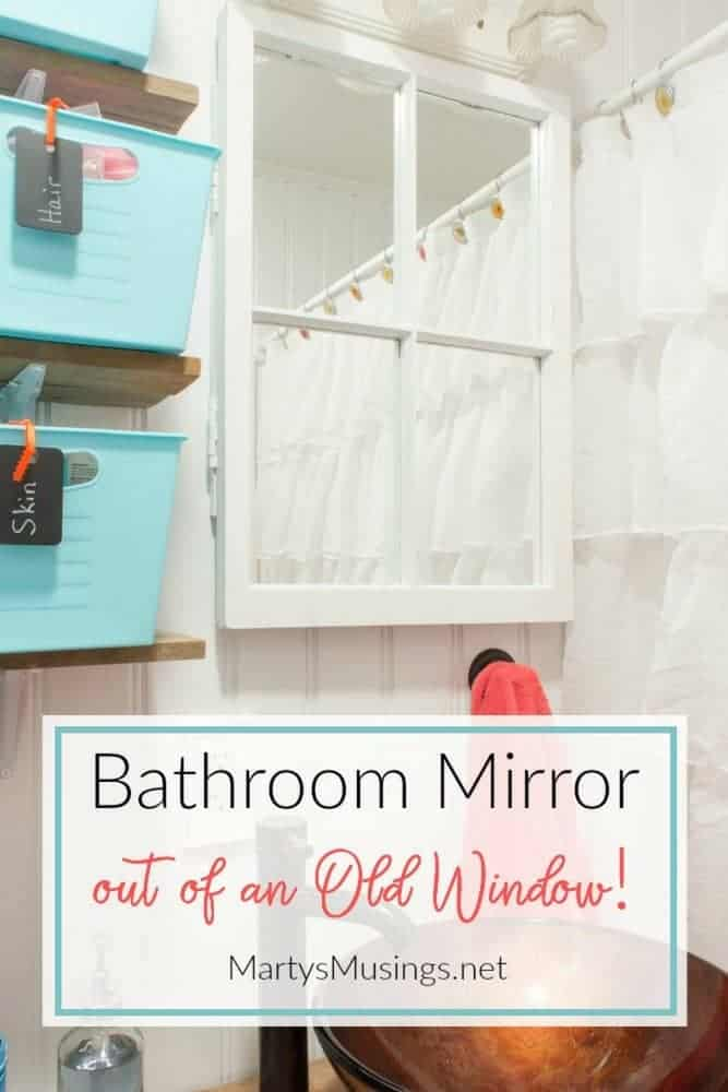 Easy to understand DIY tutorial with tips for turning an old rustic window into a bathroom window mirror. Also included are details on glazing a window and installing the mirror.