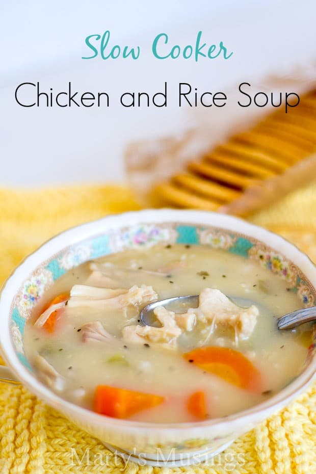 Slow Cooker Chicken and Rice Soup - Marty's Musings