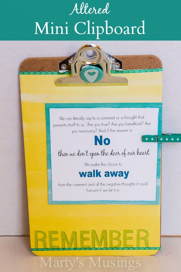 Altered Mini Clipboard Craft - Marty's Musings