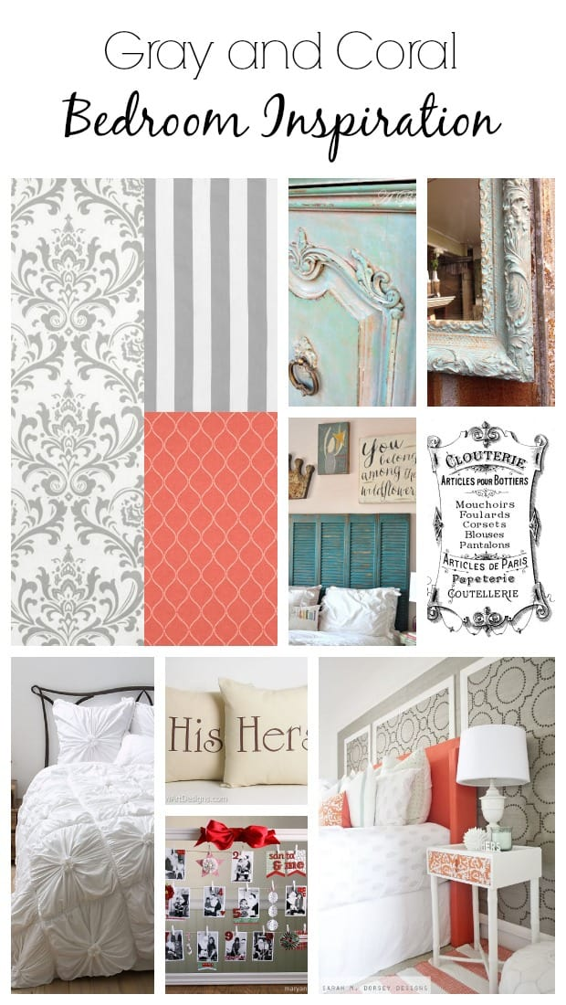 Gray and Coral Bedroom Inspiration