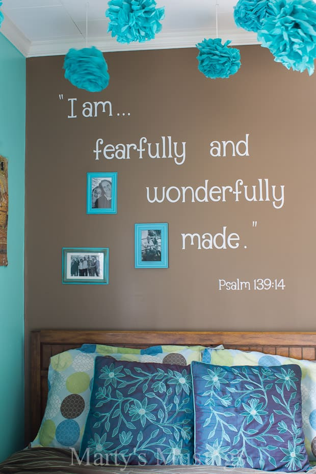 Teenage Girls Room and Inspirational Scripture Wall