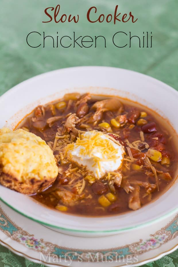 This Slow Cooker Chicken Chili recipe is a go to favorite for the busy mom and cook. Made with ingredients that are easy to find this recipe is so easy anyone can make it!