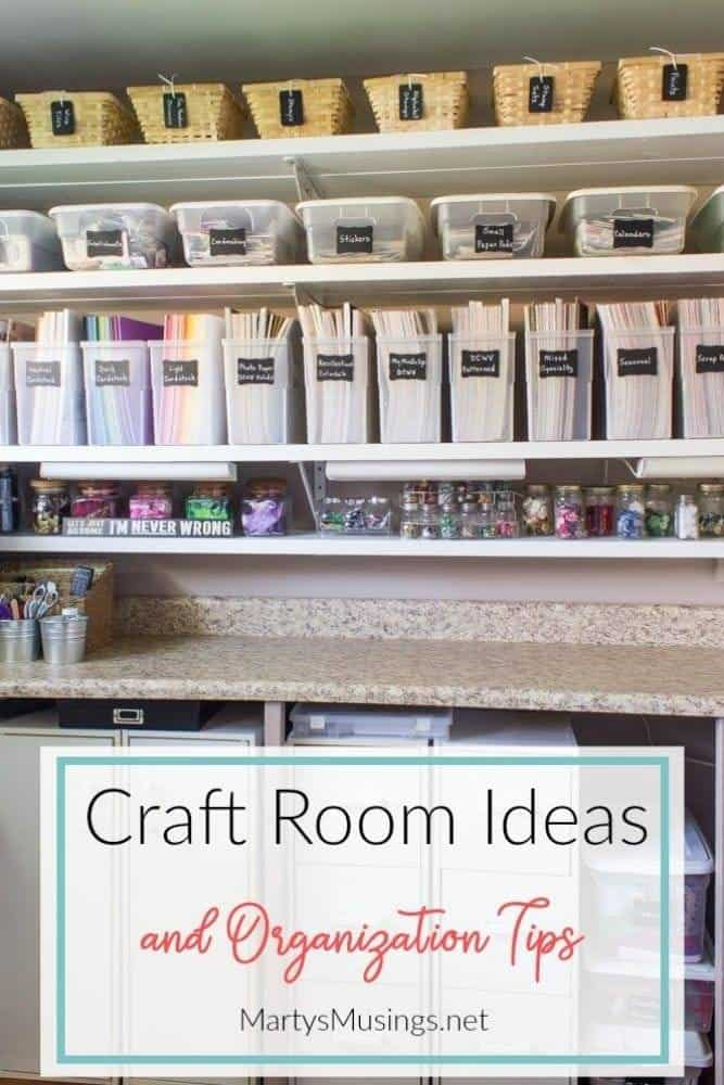 Craft room ideas with basket storage for paper and jars for buttons