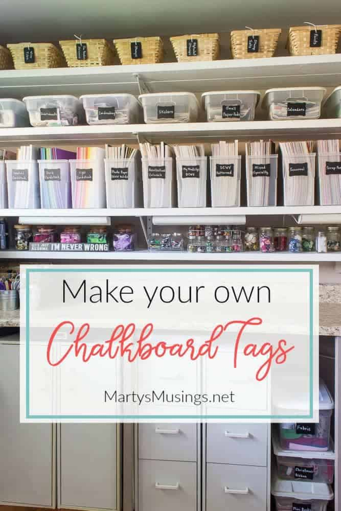 Make your own DIY chalkboard tags using scrapbook paper or spray paint. Easy way to organize every room in the house!