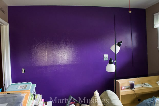 Purple Paint Colors. Bright Purple Painted Door On A Sage Green