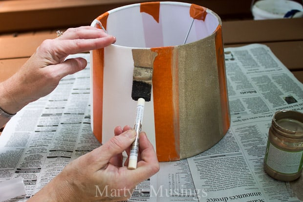 Painted Lamp Shade Makeover with Textured Surface FrogTape® - Marty's Musings