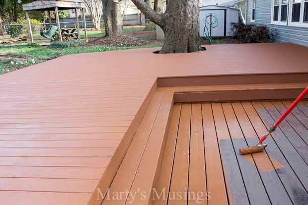 Wood deck restoration with behr deckover for Behr deckover