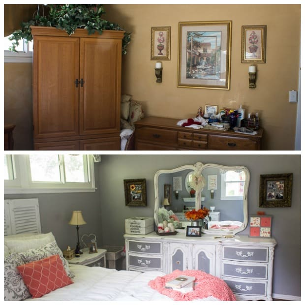 Gray and Coral Bedroom Makeover - Marty's Musings