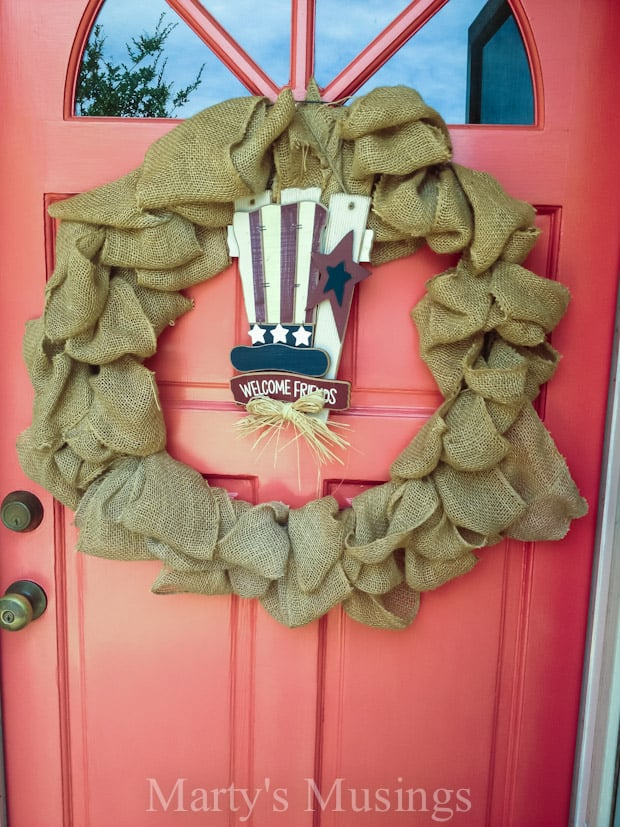 Burlap Wreath with Interchangeable Seasonal Decor - Marty's Musings