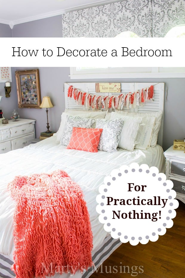Learn how to decorate a bedroom for practically nothing using yard sale finds, thrifted decor and creative DIY projects.