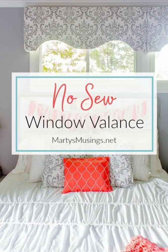 Don't know how to sew? This thorough and easy to follow tutorial can help! Tips on making a DIY no sew fabric window valance as an option for decorating your home on a budget. #nosew #curtains #valance #windowtreatments #fixerupper #fabric #DIY #crafts #martysmusings