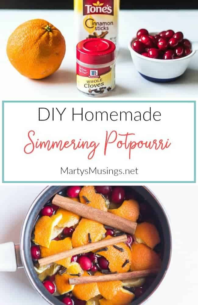 DIY homemade potpourri with fruits, cloves and cinnamon sticks