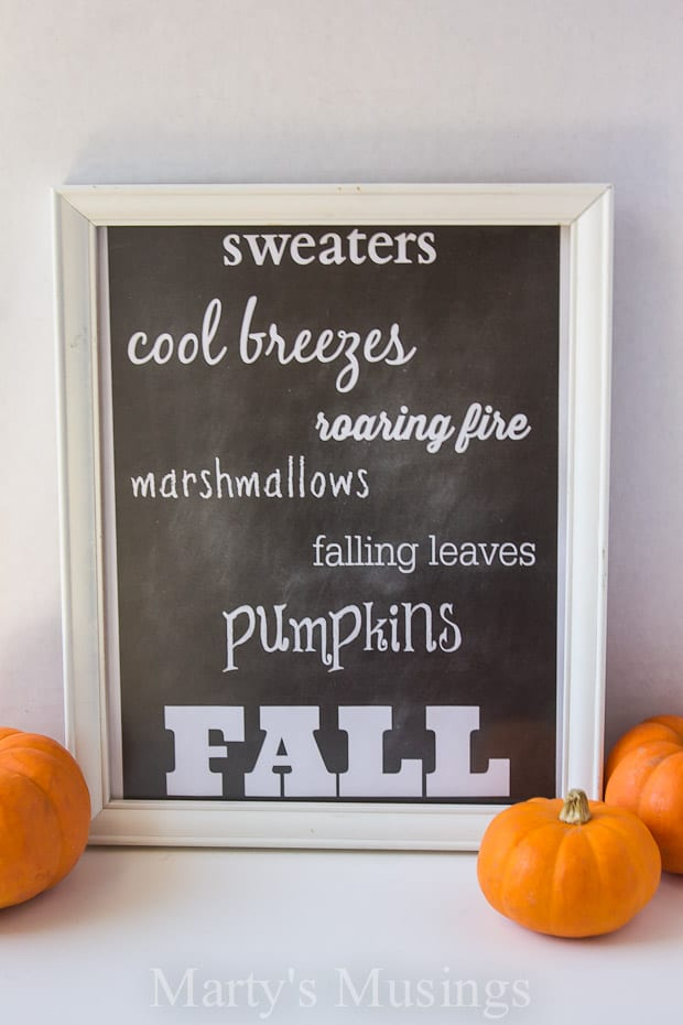 Free Chalkboard Printable for Fall from Marty's Musings