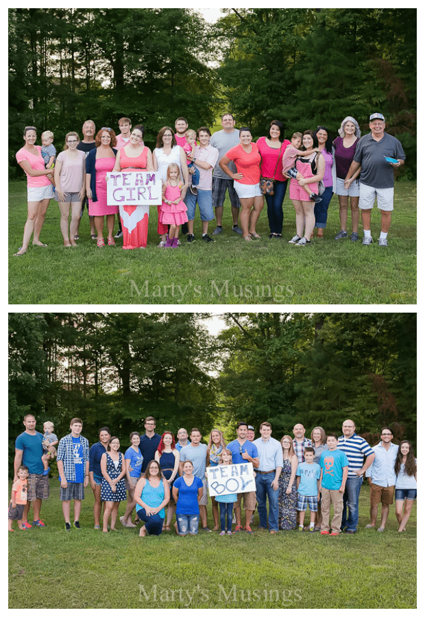 gender reveal guests vote for boy or girl baby