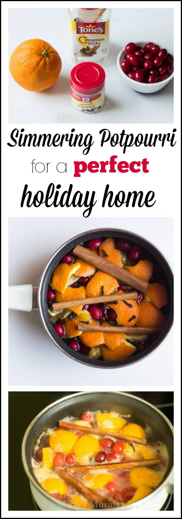 This homemade potpourri is easy to make, smells amazing and adds a festive scent to holiday parties and celebrations. Perfect for any occasion! #christmas #entertaining #christmasparty #holidays #diy #holidayhome #martysmusings