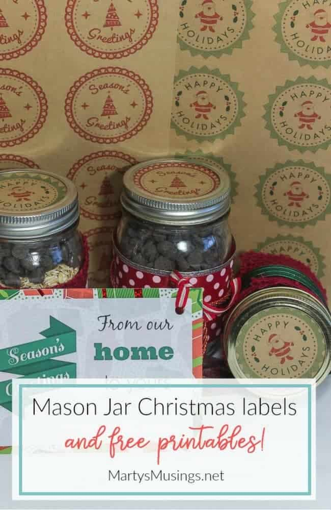 These Christmas mason jar labels and tags will be perfect for the homemade gift in a jar for your favorite person. Included are free printables!