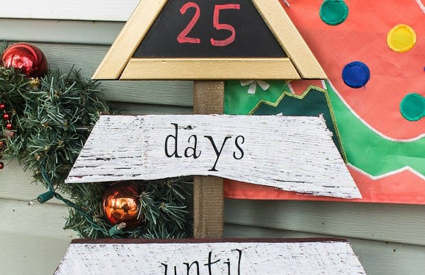 This Christmas countdown made from scrap fence board, chalkboard and Behr Paint will help entertain the kids during the long march to Christmas Day.