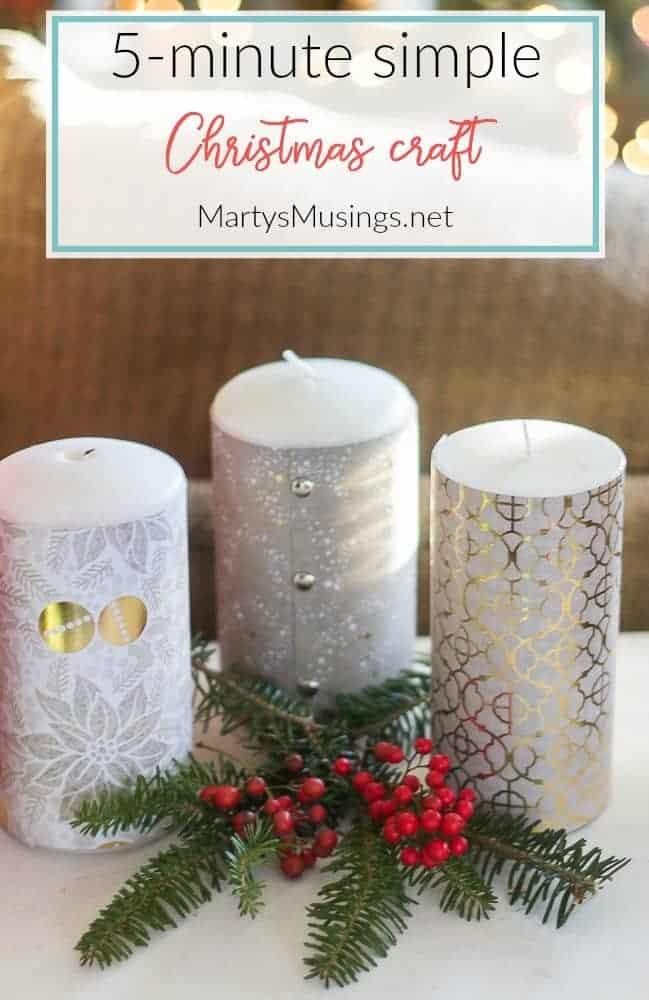 5 minute simple Christmas craft with candles and scrapbook paper