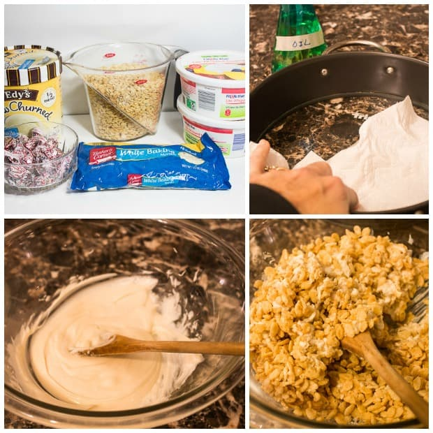 Easy Ice Cream Cake Recipe with Rice Krispies - Marty's Musings