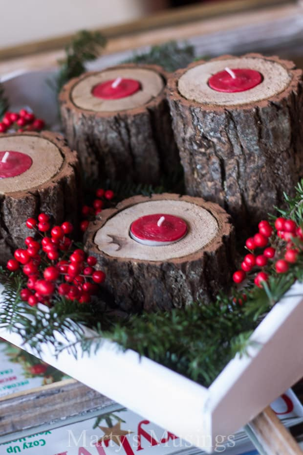 Diy wood votive candle holders diy do it your self for Diy wooden pillar candle holders