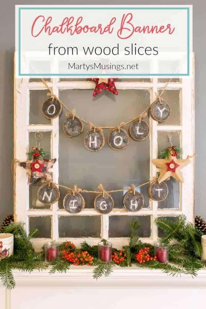 Join the chalkboard craze with these easy handmade wood slices used as a chalkboard banner. Simply erase and use for any season, celebration or party.