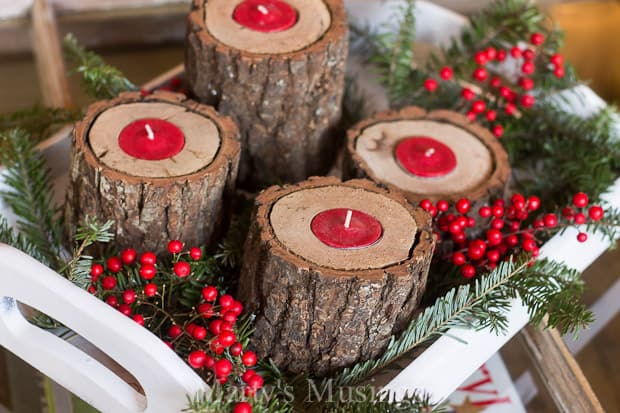 these diy rustic wood candle holders will add simple beauty to your home for any season - Christmas Log Candle Holder Decorations