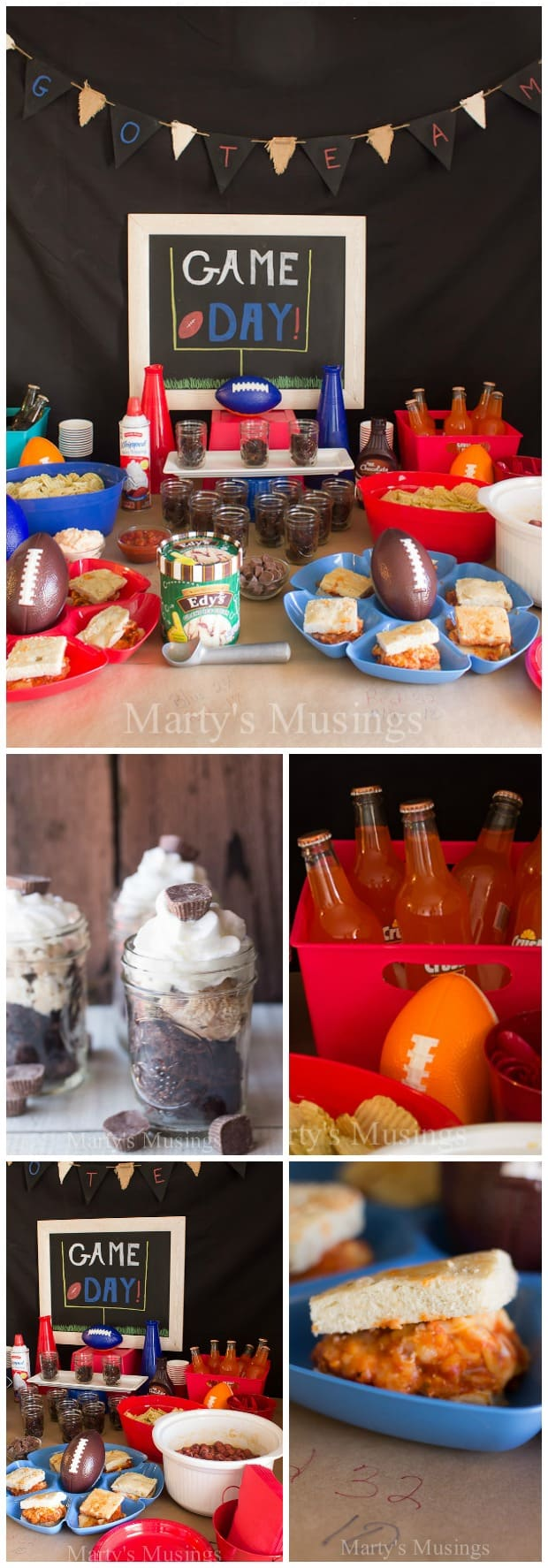 By using inexpensive dollar store football themed decorations and supplies, simple recipes and snacks, plus an easy fudge brownie recipe, your Super Bowl party will rock! #superbowl #football #dessert #party #entertaining #decorations #martysmusings