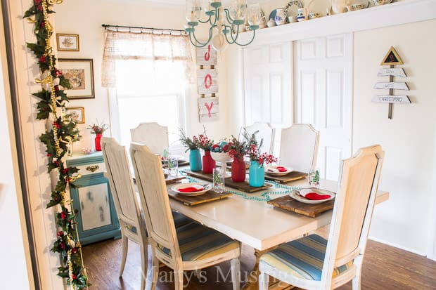 Aqua and Red Christmas Tablescape - Marty's Musings