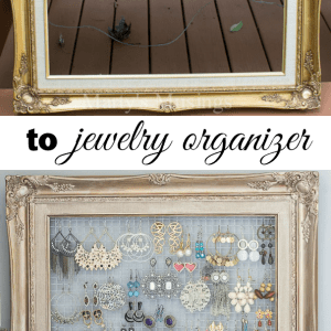 This DIY framed jewelry and earring organizer from Marty's Musings is created inexpensively from a yardsale frame and chicken wire. Perfect for hanging necklaces or earrings.
