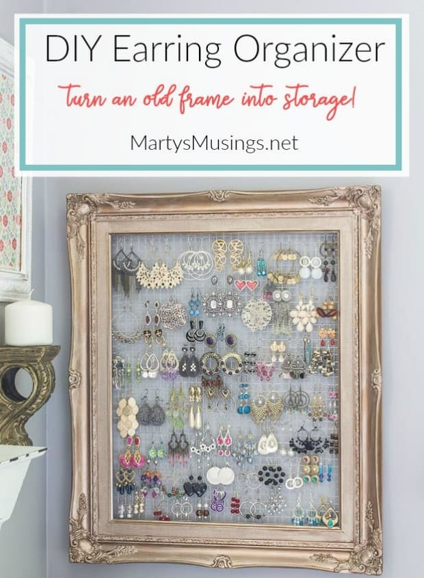 DIY earring organizer made from an old frame