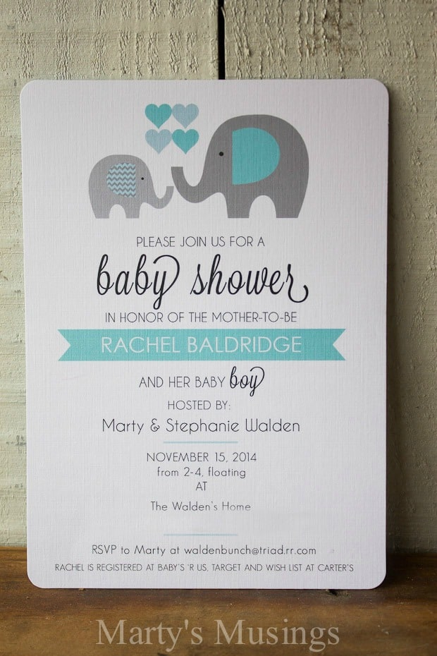 Elephant Themed Baby Shower: invites, decor, food and more!
