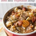 Filled with pantry staple items and inexpensive meat, this Slow Cooker Beef and Vegetable Soup from Marty's Musings is both delicious and hardy for the whole family!