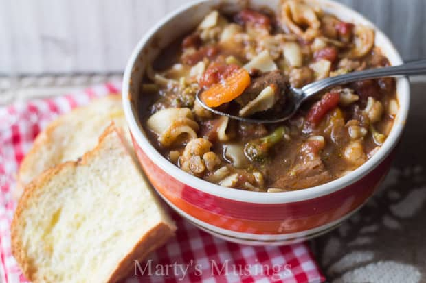"Filled with pantry staple items and inexpensive meat, this Slow Cooker Beef and Vegetable Soup from Marty's Musings is both delicious and hardy for the whole family! Here's your easy answer to the question, ""what's for dinner!"""
