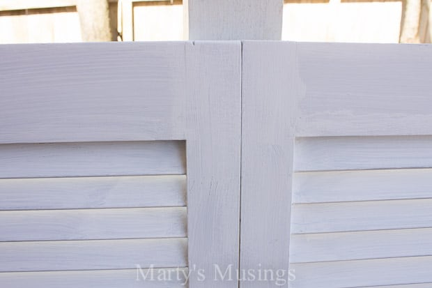 Wait until you see this DIY headboard from Marty's Musings transformed from an old louvered closet door into a chalk painted and distressed shabby chic beauty!