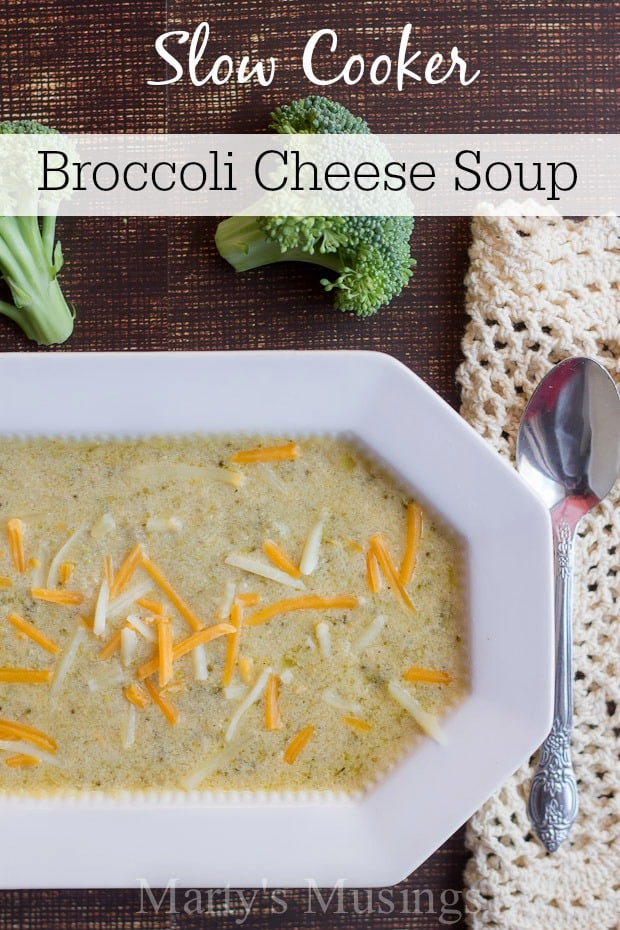 Regardless of the weather, this slow cooker Broccoli Cheese Soup is perfect for a busy day. With only 6 ingredients it's also budget friendly and delicious!