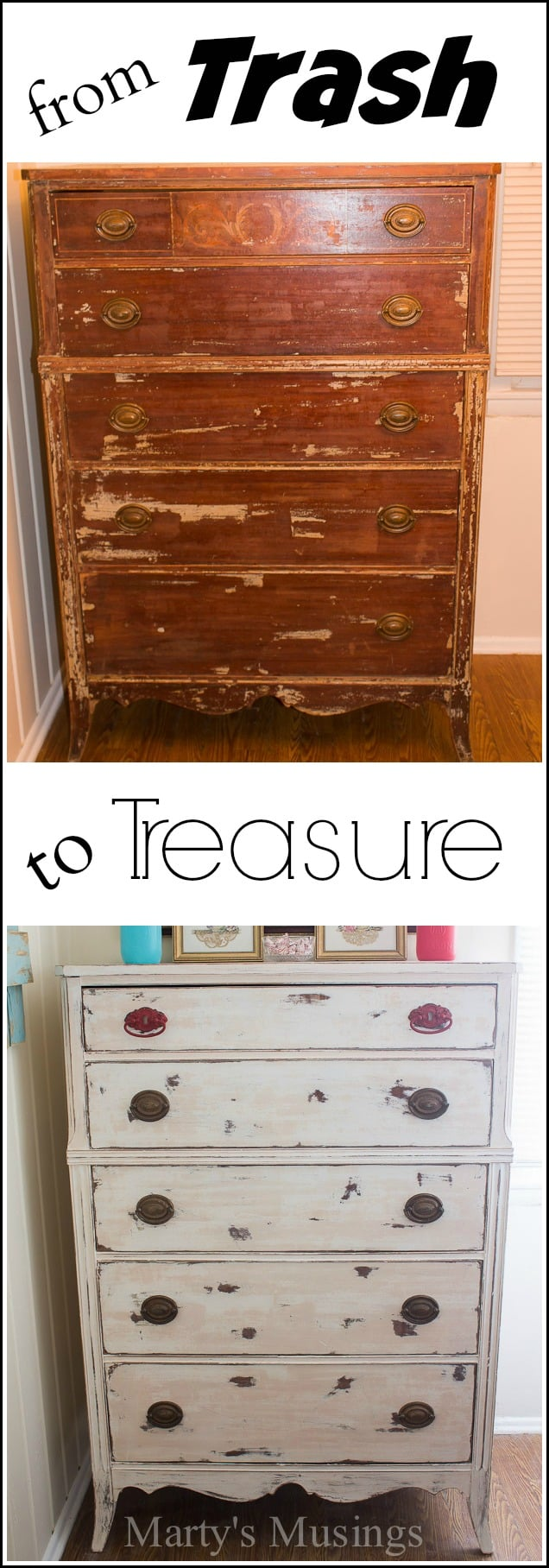 This ugly piece of furniture was found on a curb before it was transformed into a gorgeous chalk painted dresser with paint and a little bit of work!
