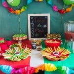 Fun ideas for throwing a themed Cinco de Mayo party on a budget with inexpensive decorations and easy recipes including pineapple salsa and taquitos.