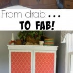 With a little bit of chalk paint, fabric, creativity and hard work this furniture makeover goes from drab to fab! You'll never believe how great it looks!