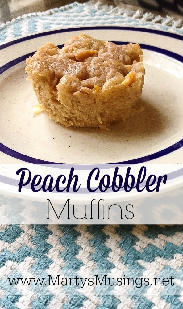 Canned or fresh peaches can be used to make these delicious Peach Cobbler Muffins from a terrific recipe by Joy the Baker. Great way to start the day!