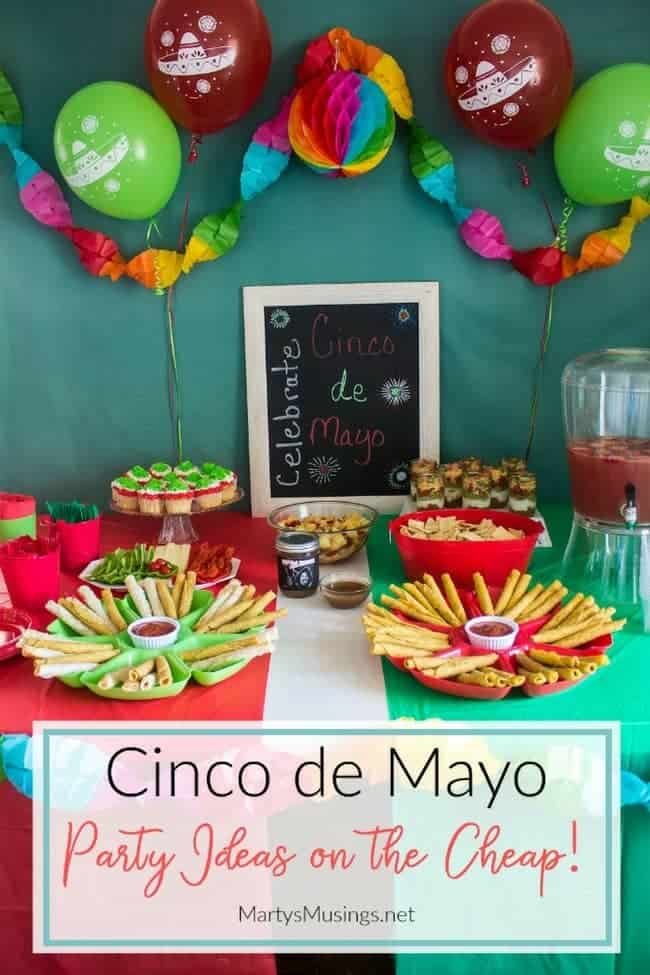 Fun ideas for throwing a themed Cinco de Mayo party on a budget with inexpensive decorations and easy recipes including homemade pineapple salsa.