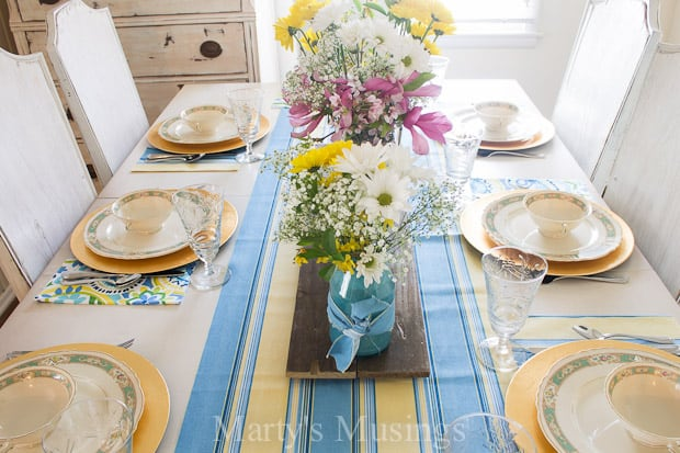 Vintage Blue and Yellow Spring Tablescape