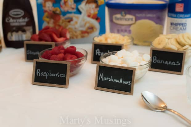 Need an easy idea for an end of summer fun with the kids party? Try this ice cream bar with kid favorite Rice Krispies on the bottom and build from there!