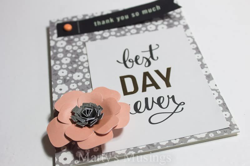 These simple cards can be made from left over scrapbook papers and embellishments in 5 minutes or less!