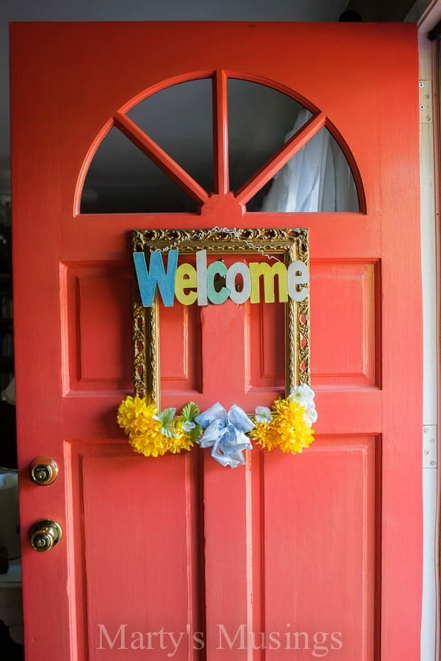 4. Picture Frame Front Door Wreath by Marty's Musings
