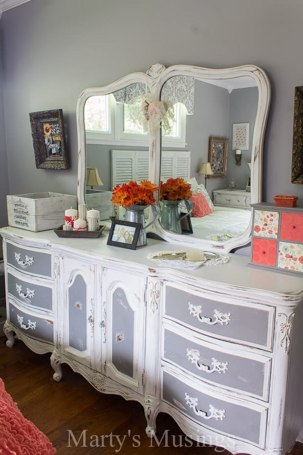 By using both chalk paint and Behr paint this bedroom furniture went from  outdated to shabby. Shabby Chic Bedroom Ideas and Furniture Makeover