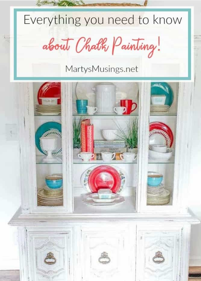 everything you need to know about chalk painting with a white hutch and red and aqua dishes