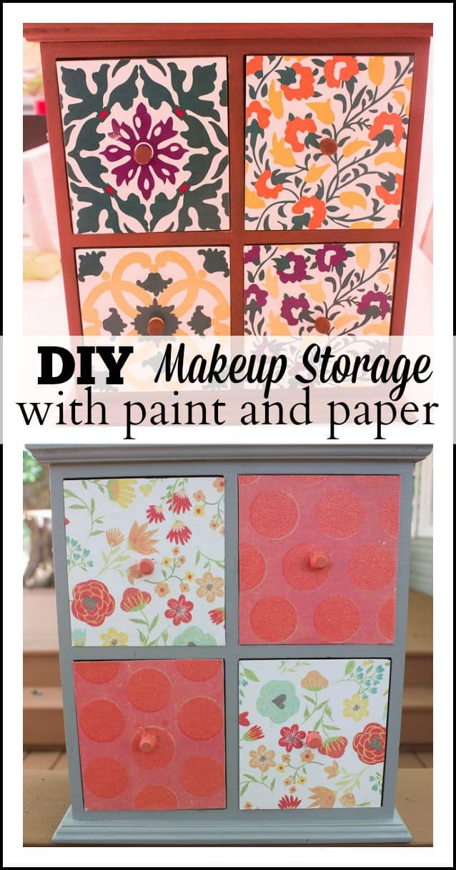 Scrapbook paper is a versatile way to spice up home decor projects, including this easy DIY makeup storage transformed with paint and patterned paper.