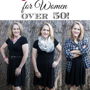 Who says women over 50 can't dress with style on a budget? Find a great black dress on sale and ways to dress it up and more casual with accessories, shoes, accents and scarves.