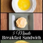 With only 3 ingredients, this 5 minute breakfast sandwich is a perfect start for busy days! Great for kids and adults alike for that most important meal!